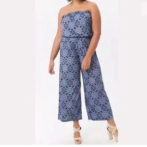Forever 21 + Plus strapless ornate print jumpsuit
